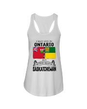 LIVE IN ONTARIO BEGAN IN SASKATCHEWAN ROOT WOMEN Ladies Flowy Tank thumbnail