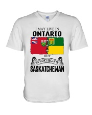 LIVE IN ONTARIO BEGAN IN SASKATCHEWAN ROOT WOMEN V-Neck T-Shirt thumbnail