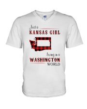 KANSAS GIRL LIVING IN WASHINGTON WORLD V-Neck T-Shirt thumbnail