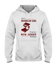 MICHIGAN GIRL LIVING IN JERSEY WORLD Hooded Sweatshirt thumbnail
