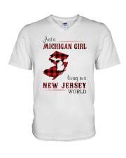 MICHIGAN GIRL LIVING IN JERSEY WORLD V-Neck T-Shirt thumbnail