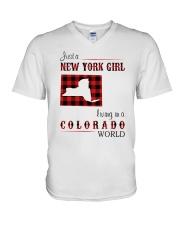 NEW YORK GIRL LIVING IN COLORADO WORLD V-Neck T-Shirt thumbnail