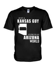 JUST A KANSAS GUY LIVING IN ARIZONA WORLD V-Neck T-Shirt thumbnail