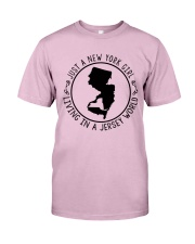 NEW YORK GIRL LIVING IN JERSEY WORLD Classic T-Shirt thumbnail