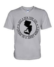 NEW YORK GIRL LIVING IN JERSEY WORLD V-Neck T-Shirt thumbnail