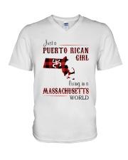 PUERTO RICAN GIRL LIVING IN MASSACHUSETTS WORLD V-Neck T-Shirt thumbnail
