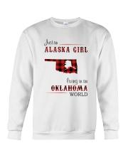 ALASKA GIRL LIVING IN OKLAHOMA WORLD Crewneck Sweatshirt thumbnail