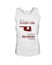 ALASKA GIRL LIVING IN OKLAHOMA WORLD Unisex Tank thumbnail