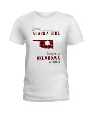 ALASKA GIRL LIVING IN OKLAHOMA WORLD Ladies T-Shirt thumbnail