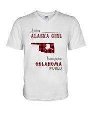 ALASKA GIRL LIVING IN OKLAHOMA WORLD V-Neck T-Shirt thumbnail