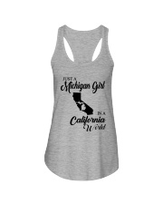 JUST A MICHIGAN GIRL IN A CALIFORNIA WORLD Ladies Flowy Tank thumbnail