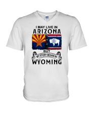 LIVE IN ARIZONA BEGAN IN WYOMING V-Neck T-Shirt thumbnail
