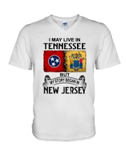 LIVE IN TENNESSEE BEGAN IN NEW JERSEY V-Neck T-Shirt thumbnail