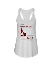 WYOMING GIRL LIVING IN IDAHO WORLD Ladies Flowy Tank thumbnail