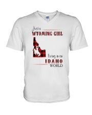 WYOMING GIRL LIVING IN IDAHO WORLD V-Neck T-Shirt thumbnail