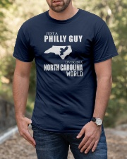 JUST A PHILLY GUY LIVING IN NC WORLD Classic T-Shirt apparel-classic-tshirt-lifestyle-front-53