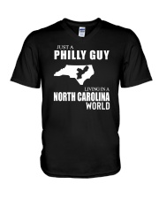 JUST A PHILLY GUY LIVING IN NC WORLD V-Neck T-Shirt thumbnail