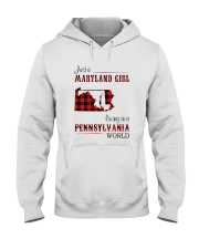 MARYLAND GIRL LIVING IN PENNSYLVANIA WORLD Hooded Sweatshirt thumbnail