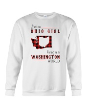 OHIO GIRL LIVING IN WASHINGTON WORLD Crewneck Sweatshirt tile