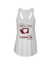 OHIO GIRL LIVING IN WASHINGTON WORLD Ladies Flowy Tank tile