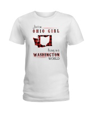 OHIO GIRL LIVING IN WASHINGTON WORLD Ladies T-Shirt tile