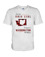 OHIO GIRL LIVING IN WASHINGTON WORLD V-Neck T-Shirt tile