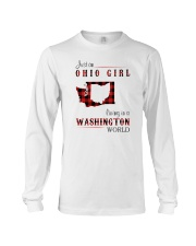 OHIO GIRL LIVING IN WASHINGTON WORLD Long Sleeve Tee tile