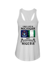 LIVE IN MICHIGAN BEGAN IN NIGERIA Ladies Flowy Tank thumbnail
