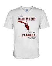 MARYLAND GIRL LIVING IN FLORIDA WORLD V-Neck T-Shirt thumbnail