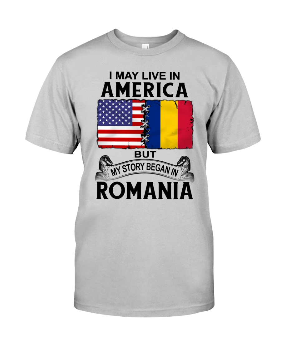 LIVE IN AMERICA BEGAN IN ROMANIA ROOT WOMEN Classic T-Shirt