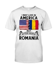 LIVE IN AMERICA BEGAN IN ROMANIA ROOT WOMEN Classic T-Shirt tile