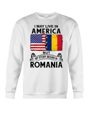 LIVE IN AMERICA BEGAN IN ROMANIA ROOT WOMEN Crewneck Sweatshirt thumbnail