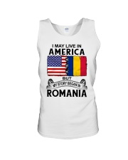 LIVE IN AMERICA BEGAN IN ROMANIA ROOT WOMEN Unisex Tank thumbnail