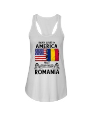 LIVE IN AMERICA BEGAN IN ROMANIA ROOT WOMEN Ladies Flowy Tank thumbnail