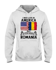 LIVE IN AMERICA BEGAN IN ROMANIA ROOT WOMEN Hooded Sweatshirt thumbnail