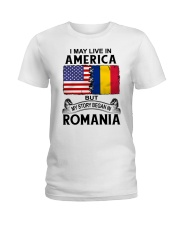 LIVE IN AMERICA BEGAN IN ROMANIA ROOT WOMEN Ladies T-Shirt thumbnail