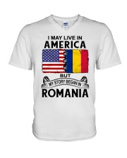 LIVE IN AMERICA BEGAN IN ROMANIA ROOT WOMEN V-Neck T-Shirt thumbnail