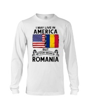 LIVE IN AMERICA BEGAN IN ROMANIA ROOT WOMEN Long Sleeve Tee thumbnail