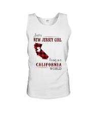 JERSEY GIRL LIVING IN CALIFORNIA WORLD Unisex Tank thumbnail