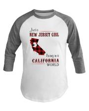 JERSEY GIRL LIVING IN CALIFORNIA WORLD Baseball Tee thumbnail