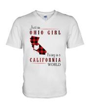 OHIO GIRL LIVING IN CALIFORNIA WORLD V-Neck T-Shirt thumbnail