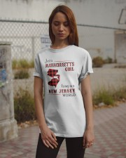 MASSACHUSETTS GIRL LIVING IN NEW JERSEY WORLD Classic T-Shirt apparel-classic-tshirt-lifestyle-18