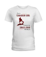 CANADIAN GIRL LIVING IN ENGLAND WORLD Ladies T-Shirt thumbnail
