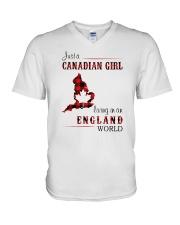 CANADIAN GIRL LIVING IN ENGLAND WORLD V-Neck T-Shirt thumbnail