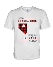 ALASKA GIRL LIVING IN NEVADA WORLD V-Neck T-Shirt thumbnail