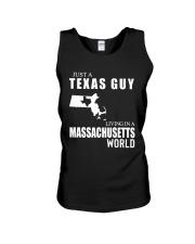 JUST A TEXAS GUY LIVING IN MASSACHUSETTS WORLD Unisex Tank thumbnail