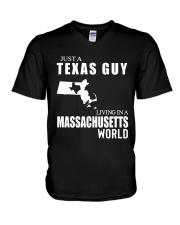 JUST A TEXAS GUY LIVING IN MASSACHUSETTS WORLD V-Neck T-Shirt thumbnail
