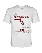 WYOMING GIRL LIVING IN FLORIDA WORLD V-Neck T-Shirt thumbnail