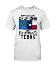 LIVE IN OKLAHOMA BEGAN IN TEXAS Classic T-Shirt tile