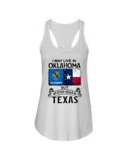 LIVE IN OKLAHOMA BEGAN IN TEXAS Ladies Flowy Tank thumbnail